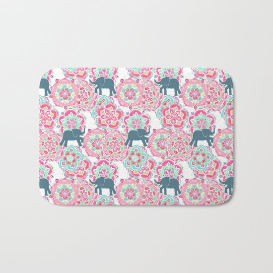 Tiny Elephants in Fields of Flowers Bath Mat