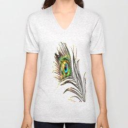 pluma de pavo real ( peacock feather ) Unisex V-Neck