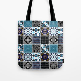 Patchwork . Blue , black and grey . Tote Bag
