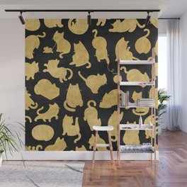 Gold on Black Kitty Pattern Wall Mural