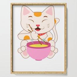 Kawaii japanese anime cat ramen noodles shirt Serving Tray
