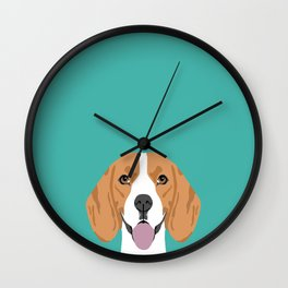 Beagle dog head cute pet portrait beagles lovers pure breed dog gifts Wall Clock