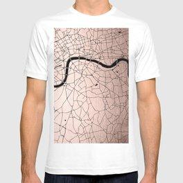 London Rosegold on Black Street Map T-shirt