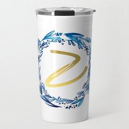 Letter Z Wreath Monogram Travel Mug