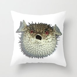 Angry little fish Throw Pillow
