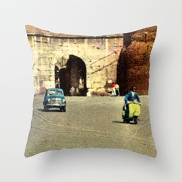 Scooter in Rome Throw Pillow