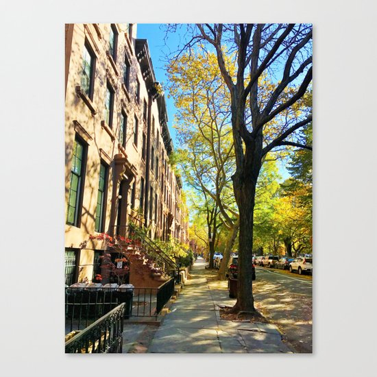 Cobble Hill Brooklyn New York in the Fall, Brownstones Canvas Print