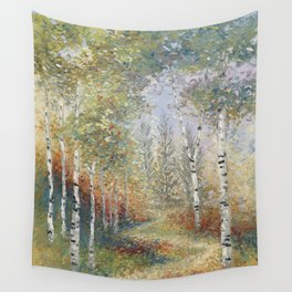 Birch Among the Pines Wall Tapestry