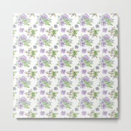 Succulents Pattern Purple and Green Metal Print