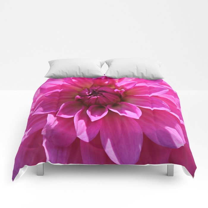 Lush Pink Dahlia Comforters