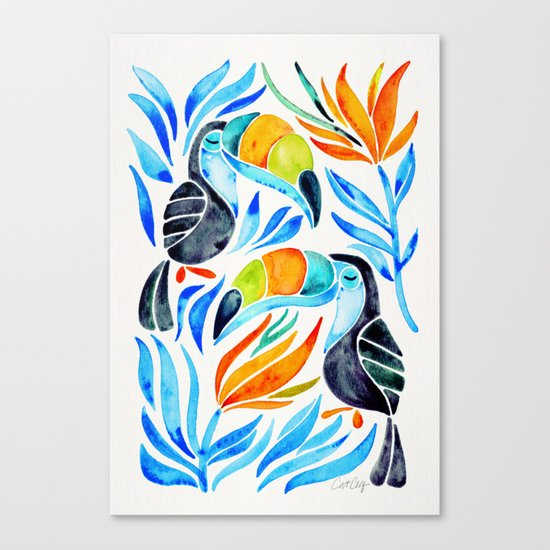 Tropical Toucans – Blue Leaves Canvas Print