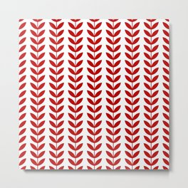 Red Scandinavian leaves pattern Metal Print