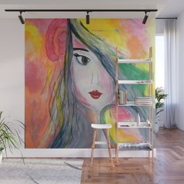Pretty Girl. Yellow Pink and Green Girl Painting by Jodi Tomer. Figurative Abstract Pop Art. Wall Mural