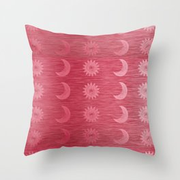 Pink Sun and Moon Rows Throw Pillow