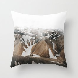Iceland Snow and Mountains Throw Pillow