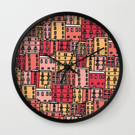 Red Townhouses Pattern Wall Clock