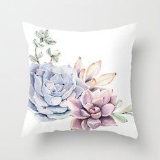 Pristine Succulents Blue and Pink Throw Pillow