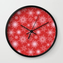Christmas pattern with snowflakes on red. Wall Clock