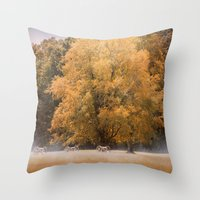 battlefield Throw Pillows featuring Morning on the Battlefield by Jai Johnson