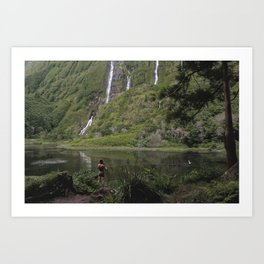 Man And Lake Art Print