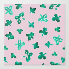 Watercolor Clover on Pink Canvas Print