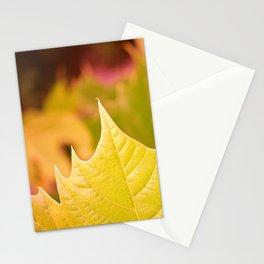 Golden Olive Sycamore Leaf Stationery Cards