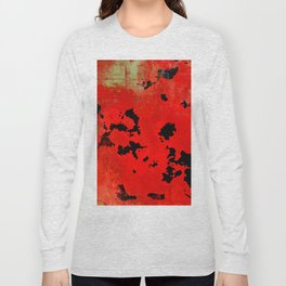 Red Modern Contemporary Abstract Textured Design Long Sleeve T-shirt