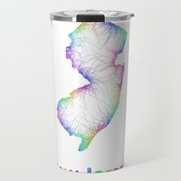 Rainbow New Jersey map Travel Mug