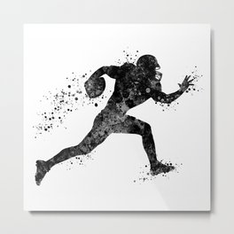 American Football Player Sports Art Football Player Gift Black And White Art Metal Print