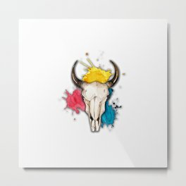 Watercolor Skull Metal Print