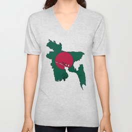 Bangladesh Map with Bangladeshi Flag Unisex V-Neck