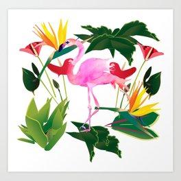 Flamingo and Flowers Art Print