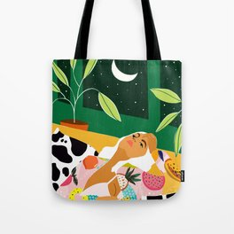 Moon Lover, Bold Quirky Fashion Illustration, Eclectic Decor Modern Bohemian Plant Lady Tote Bag
