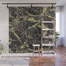 Marble - Glittery Gold Marble on Black Design Wall Mural