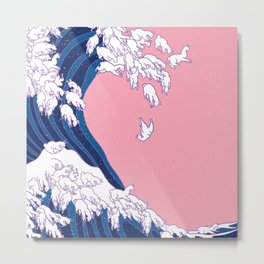 Llama Waves in Pink Metal Print
