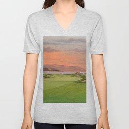 Pebble Beach Golf Course Hole 17 Unisex V-Neck
