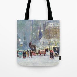 Horse Drawn Hansom Cab Carriages, Central Park, New York City landscape by Guy Carleton Wiggins Tote Bag