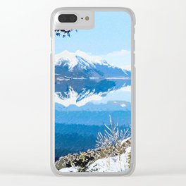 Panorama view of Lake Mcdonald Clear iPhone Case