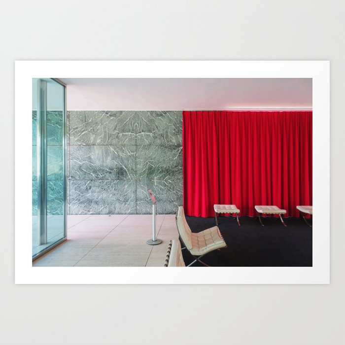 Barcelona\'s German Pavilion Red Curtain by Mies van der Rohe Art ...