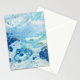 Under the Sea - Blue Abstract Acrylic Pour Art Stationery Cards