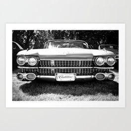 Black and White Hot Rod Caddy Art Print