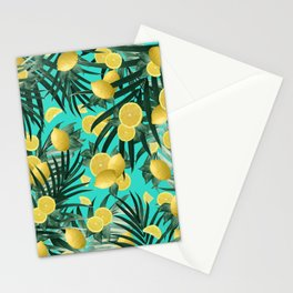 Summer Lemon Twist Jungle #1 #tropical #decor #art #society6 Stationery Cards