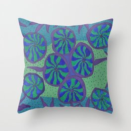 Blue Ocean Groove Throw Pillow