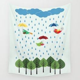 Birds in the rain. Wall Tapestry