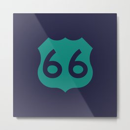 Route 66 • Travel and Road Trip Design • Navy Blue and Teal Metal Print
