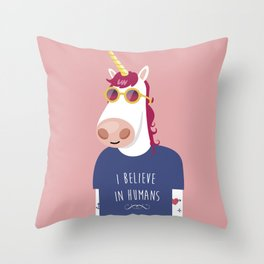 I believe in Humans Throw Pillow
