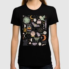 Lunar Pattern: Blue Moon Womens Fitted Tee MEDIUM Black