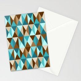 Mid Century Modern Triangle Block Geometric Pattern // Caribbean Blue, Ocean Blue, Dark Brown, Coffee Brown, Khaki Stationery Cards