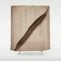 feather Shower Curtains featuring Feather by Jessica Torres Photography