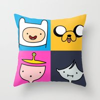 finn and jake Throw Pillows featuring Finn & Jake by fungopolly